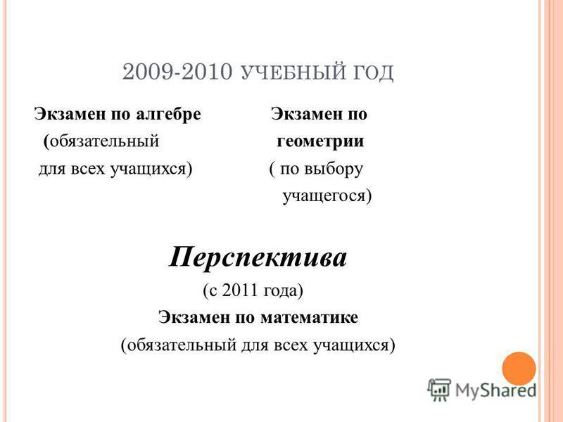 2009-2010 УЧЕБНЫЙ ГОД Экзамен по алгебре Экзамен по (обязательный геометрии для всех учащихся) ( по выбору учащегося) Перспектива (с 2011 года) Экзамен по математике (обязательный для всех учащихся)