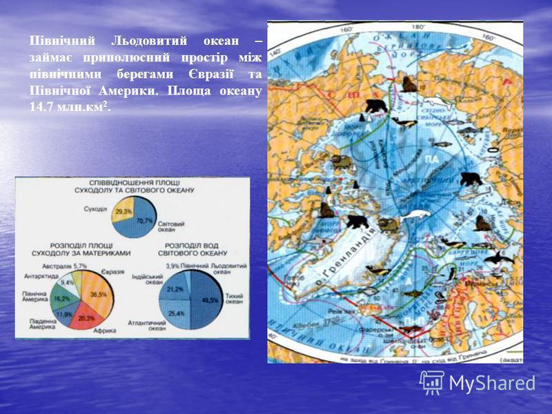 Північний Льодовитий океан – займає приполюсний простір між північними берегами Євразії та Північної Америки. Площа океану 14.7 млн.км 2.