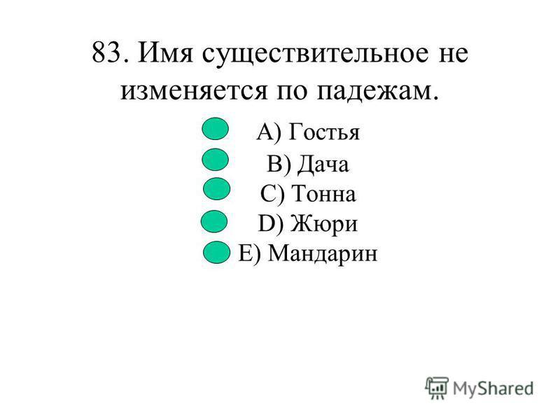 82. Укажите существительное, которое с не пишется раздельно. A) Несмотря на (не)погоду, мы двинулись в путь. B) На их лицах выражалась если (не)боязнь, то беспокойство. C) В осеннее (не)настье семь погод на дворе. D) Мы не знали, в какую сторону идти