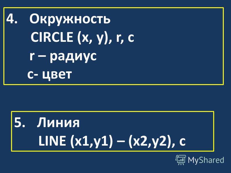 4. Окружность CIRCLE (x, y), r, c r – радиус с- цвет 5. Линия LINE (x1,y1) – (x2,y2), c