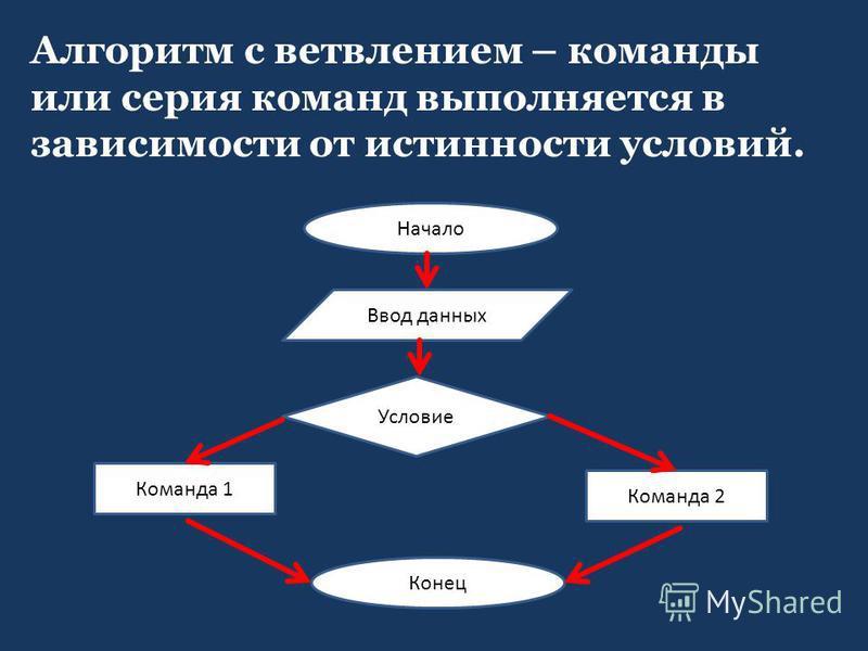 Алгоритм с ветвлением – команды или серия команд выполняется в зависимости от истинности условий. Начало Ввод данных Условие Команда 1 Команда 2 Конец