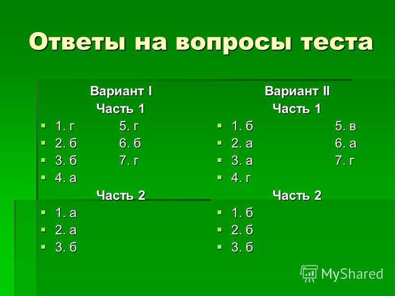 Ответы на вопросы теста Вариант I Часть 1 1. г 5. г 1. г 5. г 2. б 6. б 2. б 6. б 3. б 7. г 3. б 7. г 4. а 4. а Часть 2 1. а 1. а 2. а 2. а 3. б 3. б Вариант II Часть 1 1. б 5. в 1. б 5. в 2. а 6. а 2. а 6. а 3. а 7. г 3. а 7. г 4. г 4. г Часть 2 1.