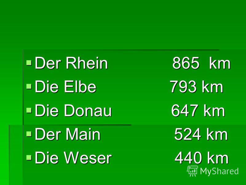 Der Rhein 865 km Der Rhein 865 km Die Elbe 793 km Die Elbe 793 km Die Donau 647 km Die Donau 647 km Der Main 524 km Der Main 524 km Die Weser 440 km Die Weser 440 km