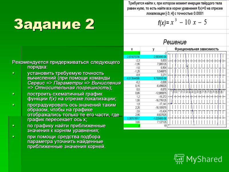 Задание 2 Рекомендуется придерживаться следующего порядка: установить требуемую точность вычислений (при помощи команды Сервис => Параметры => Вычисления => Относительная погрешность); установить требуемую точность вычислений (при помощи команды Серв