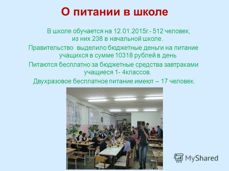 О питании в школе В школе обучается на 12.01.2015 г.- 512 человек, из них 238 в начальной школе. Правительство выделило бюджетные деньги на питание учащихся в сумме 10318 рублей в день Питаются бесплатно за бюджетные средства завтраками учащиеся 1- 4