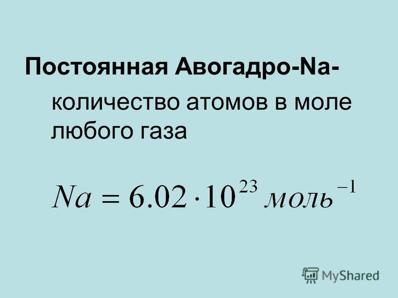 Постоянная Авогадро-Na- количество атомов в моле любого газа