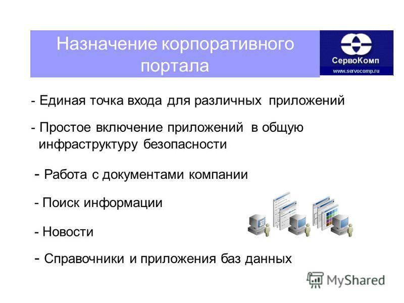 Назначение корпоративного портала - Единая точка входа для различных приложений - Работа с документами компании - Простое включение приложений в общую инфраструктуру безопасности - Новости - Справочники и приложения баз данных - Поиск информации