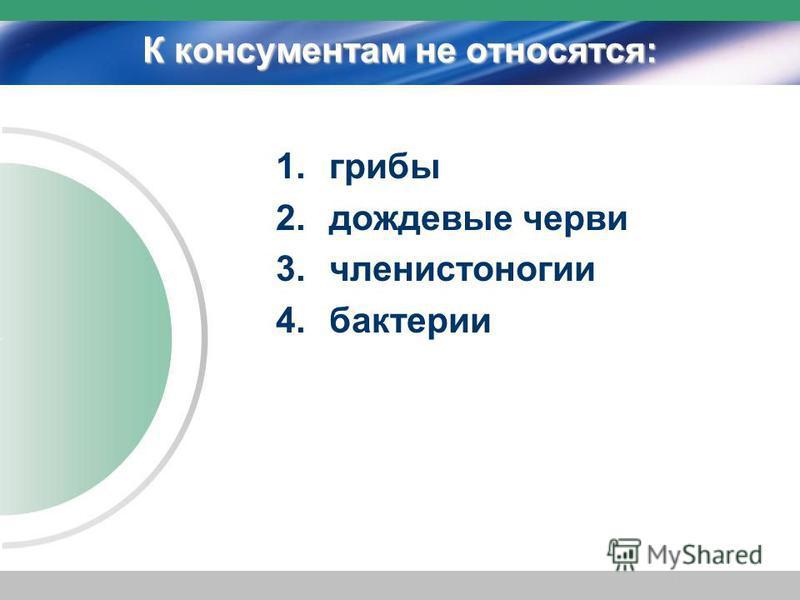 К консументам не относятся: 1. грибы 2. дождевые черви 3. членистоногие 4.бактерии
