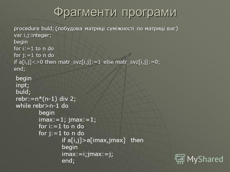 Фрагменти програми procedure buld;{побудова матриці суміжності по матриці ваг} var i,j:integer; begin for i:=1 to n do for j:=1 to n do if a[i,j]<>0 then matr_svz[i,j]:=1 else matr_svz[i,j]:=0; end; begin inpt; buld; rebr:=n*(n-1) div 2; while rebr>n