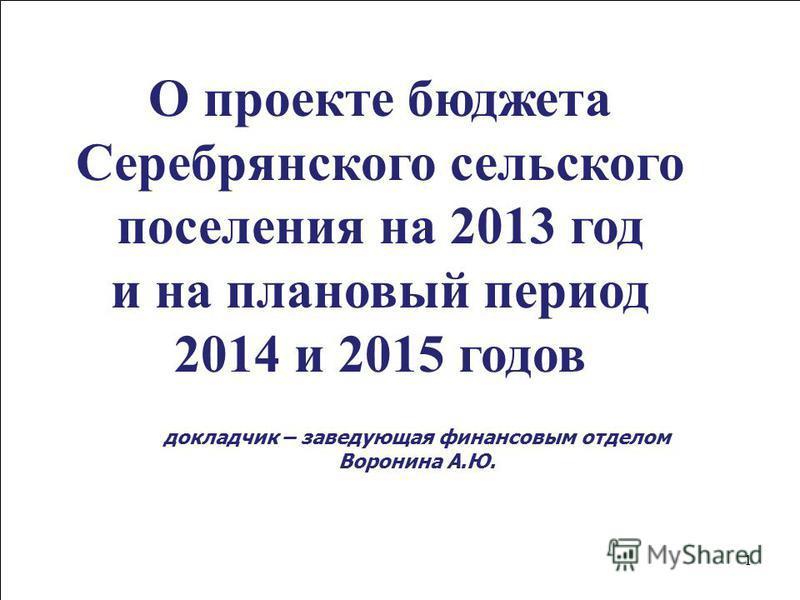 1 О проекте бюджета Cеребрянского сельского поселения на 2013 год и на плановый период 2014 и 2015 годов докладчик – заведующая финансовым отделом Воронина А.Ю.