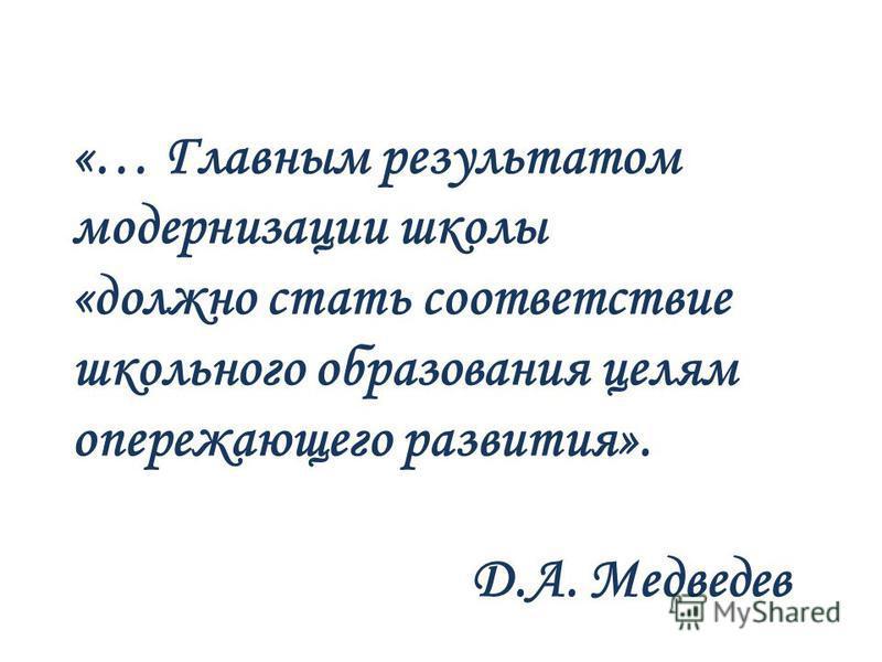 «… Главным результатом модернизации школы «должно стать соответствие школьного образования целям опережающего развития». Д.А. Медведев