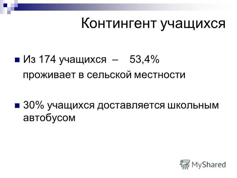 Контингент учащихся Из 174 учащихся – 53,4% проживает в сельской местности 30% учащихся доставляется школьным автобусом