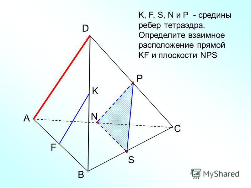 А В С D N K, F, S, N и Р - средины ребер тетраэдра. Определите взаимное расположение прямой KF и плоскости NPS Р S F K