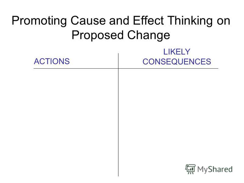 Promoting Cause and Effect Thinking on Proposed Change ACTIONS LIKELY CONSEQUENCES