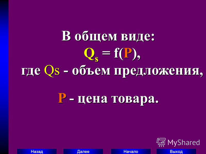 Выход Начало Далее Назад В общем виде: Q s = f(P), где Qs - объем предложения, P - цена товара.