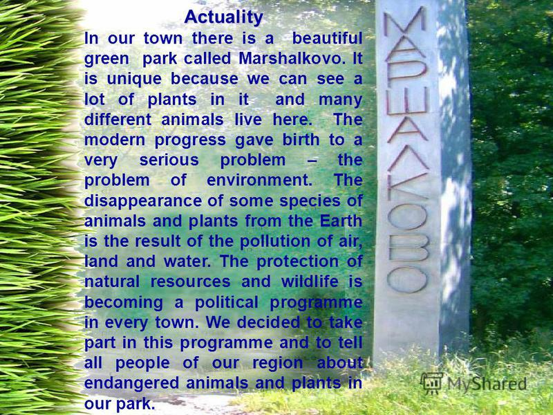 Actuality In our town there is a beautiful green park called Marshalkovo. It is unique because we can see a lot of plants in it and many different animals live here. The modern progress gave birth to a very serious problem – the problem of environmen