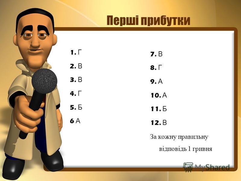 Перші прибутки 1. Г 2. В 3. В 4. Г 5. Б 6 А 7. В 8. Г 9. А 10. А 11. Б 12. В За кожну правильну відповідь 1 гривня