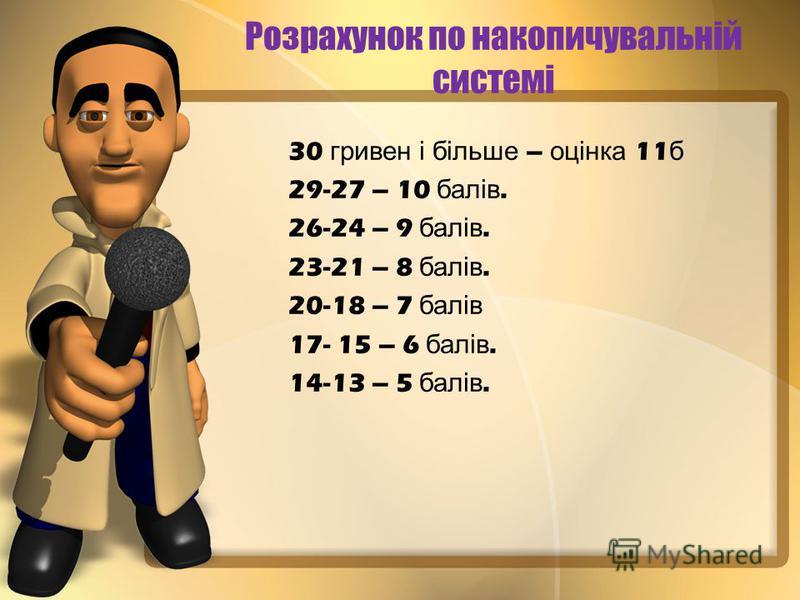 Розрахунок по накопичувальній системі 30 гривен і більше – оцінка 11 б 29-27 – 10 балів. 26-24 – 9 балів. 23-21 – 8 балів. 20-18 – 7 балів 17- 15 – 6 балів. 14-13 – 5 балів.