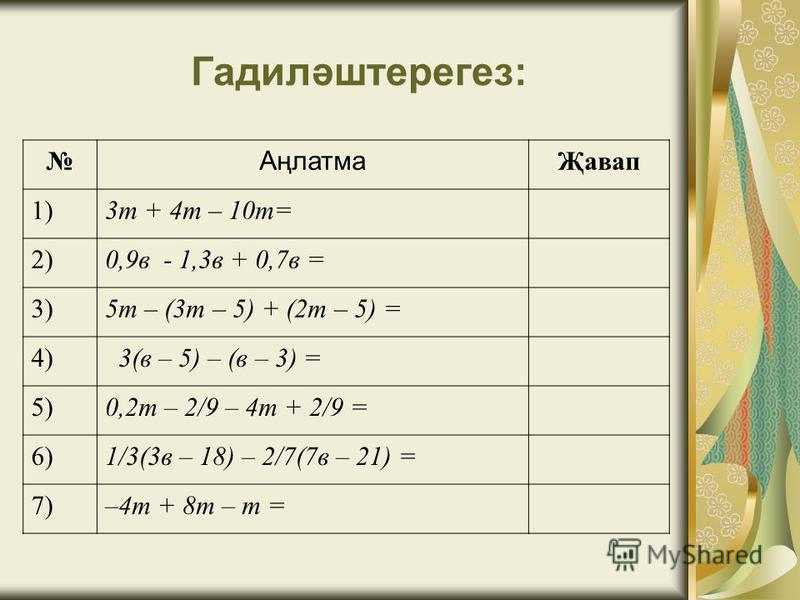 Гадиләштерегез: Аңлатма Җавап 1)3т + 4т – 10т= 2)0,9в - 1,3в + 0,7в = 3)5т – (3т – 5) + (2т – 5) = 4) 3(в – 5) – (в – 3) = 5)0,2т – 2/9 – 4т + 2/9 = 6)1/3(3в – 18) – 2/7(7в – 21) = 7)–4т + 8т – т =