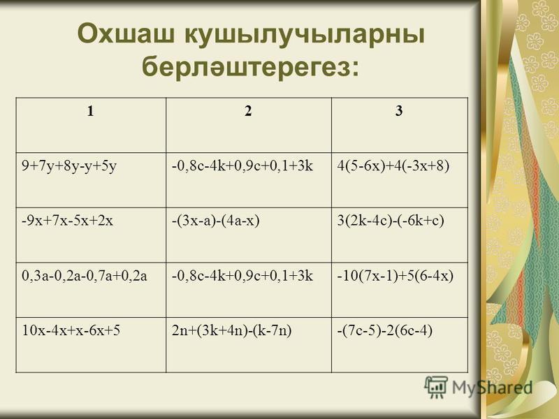 Охшаш кушылучыларны берләштерегез: 123 9+7у+8у-у+5у-0,8с-4k+0,9c+0,1+3k4(5-6x)+4(-3x+8) -9x+7x-5x+2x-(3x-a)-(4a-x)3(2k-4c)-(-6k+c) 0,3a-0,2a-0,7a+0,2a-0,8c-4k+0,9c+0,1+3k-10(7x-1)+5(6-4x) 10x-4x+x-6x+52n+(3k+4n)-(k-7n)-(7c-5)-2(6c-4)
