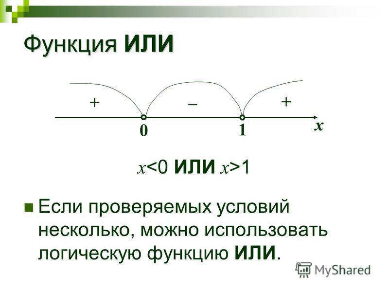 Функция ИЛИ x 1 Если проверяемых условий несколько, можно использовать логическую функцию ИЛИ. х + – + 0 1