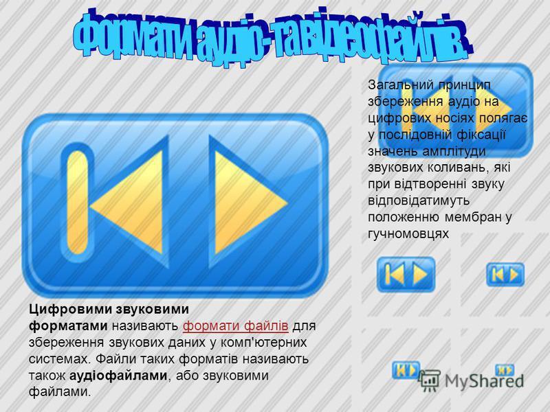 Цифровими звуковими форматами називають формати файлів для збереження звукових даних у комп'ютерних системах. Файли таких форматів називають також аудіофайлами, або звуковими файлами.формати файлів Загальний принцип збереження аудіо на цифрових носія
