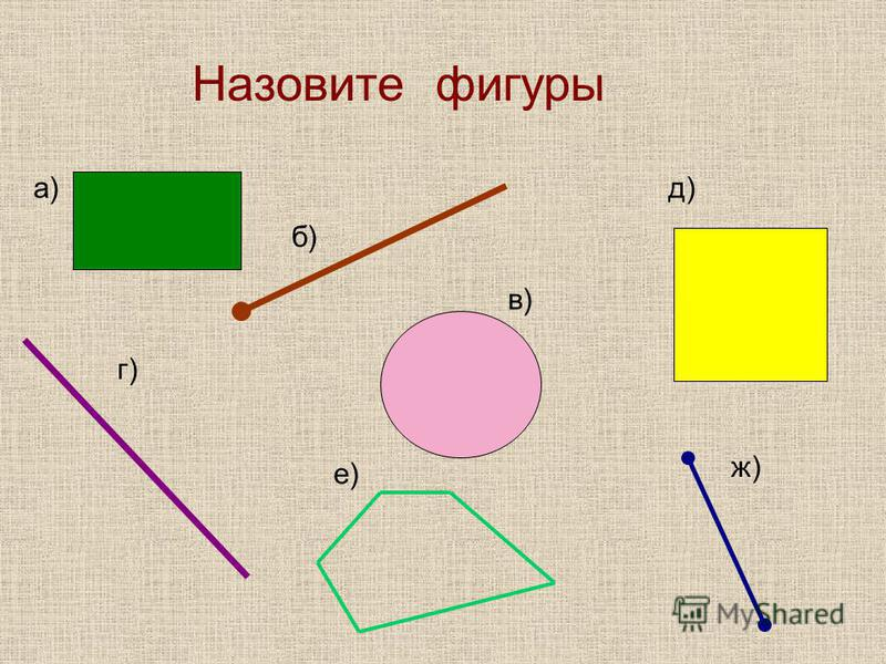Назовите фигуры а) б) г) в) д) е) ж)