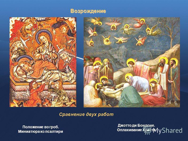 Положение во гроб. Миниатюра из псалтири Джотто ди Бондоне. Оплакивание Христа Возрождение Сравнение двух работ