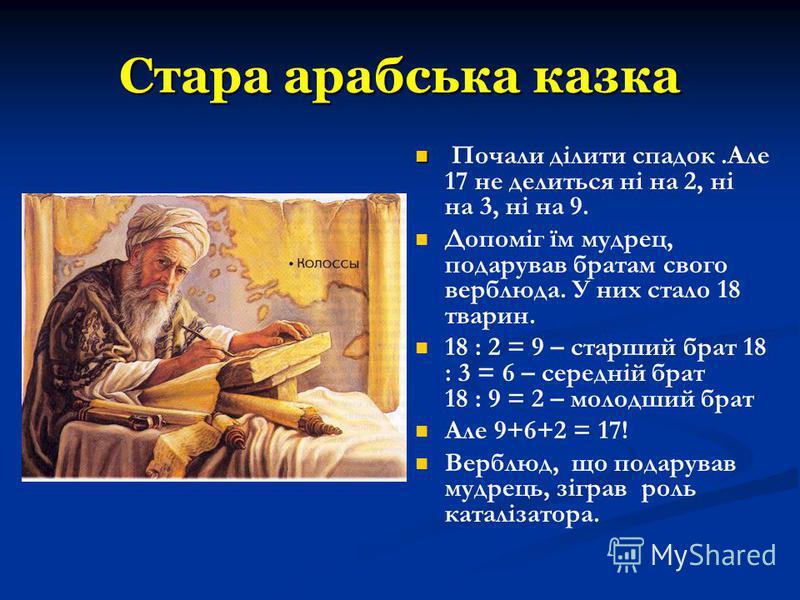 Стара арабська казка Почали ділити спадок.Але 17 не делиться ні на 2, ні на 3, ні на 9. Допоміг їм мудрец, подарував братам свого верблюда. У них стало 18 тварин. 18 : 2 = 9 – старший брат 18 : 3 = 6 – середній брат 18 : 9 = 2 – молодший брат Але 9+6