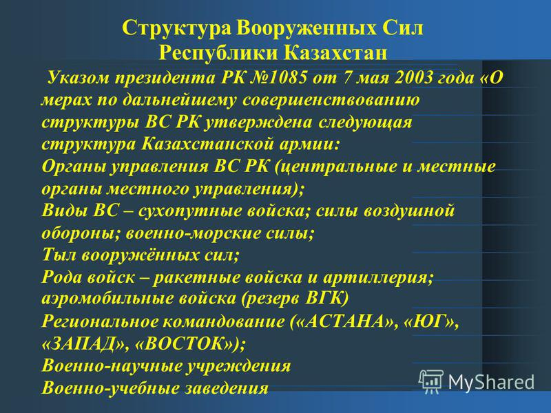 Структура Вооруженных Сил Республики Казахстан Указом президента РК 1085 от 7 мая 2003 года «О мерах по дальнейшему совершенствованию структуры ВС РК утверждена следующая структура Казахстанской армии: Органы управления ВС РК (центральные и местные о