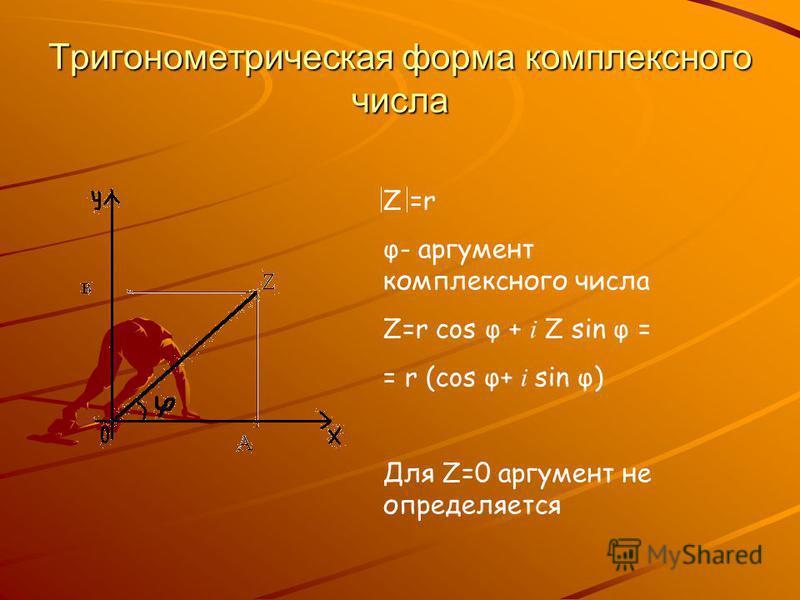 Тригонометрическая форма комплексного числа Z =r φ- аргумент комплексного числа Z=r cos φ + i Z sin φ = = r (cos φ+ i sin φ) Для Z=0 аргумент не определяется