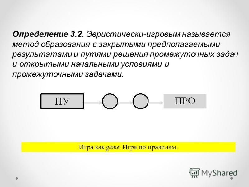 Определение 3.2. Эвристически-игровым называется метод образования с закрытыми предполагаемыми результатами и путями решения промежуточных задач и открытыми начальными условиями и промежуточными задачами. Игра как game. Игра по правилам.