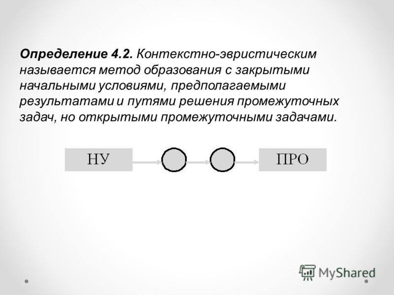 Определение 4.2. Контекстно-эвристическим называется метод образования с закрытыми начальными условиями, предполагаемыми результатами и путями решения промежуточных задач, но открытыми промежуточными задачами.