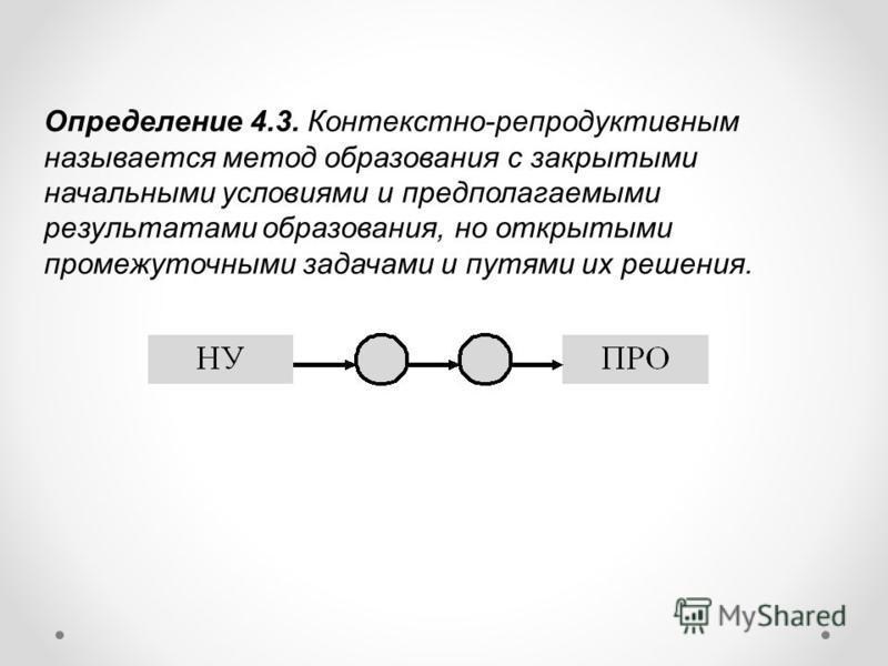 Определение 4.3. Контекстно-репродуктивным называется метод образования с закрытыми начальными условиями и предполагаемыми результатами образования, но открытыми промежуточными задачами и путями их решения.