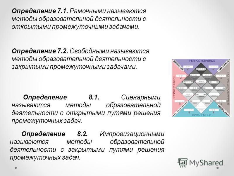 Определение 7.1. Рамочными называются методы образовательной деятельности с открытыми промежуточными задачами. Определение 7.2. Свободными называются методы образовательной деятельности с закрытыми промежуточными задачами. Определение 8.1. Сценарными
