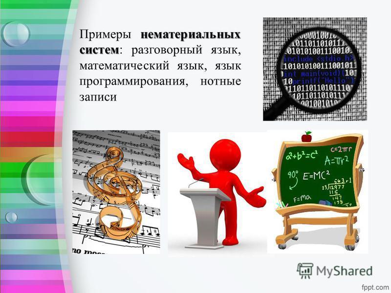 нематериальных систем Примеры нематериальных систем: разговорный язык, математический язык, язык программирования, нотные записи