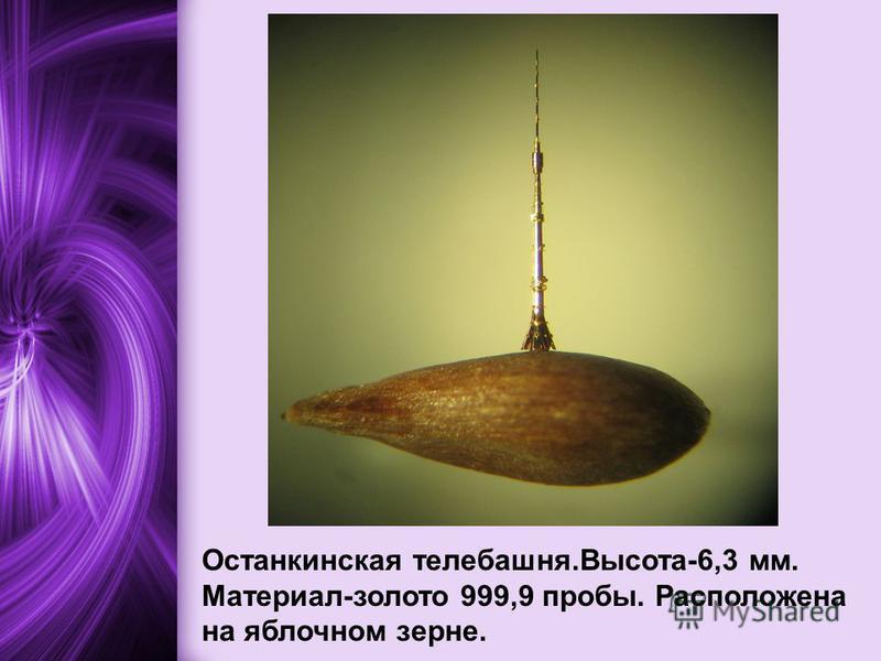 Останкинская телебашня.Высота-6,3 мм. Материал-золото 999,9 пробы. Расположена на яблочном зерне.