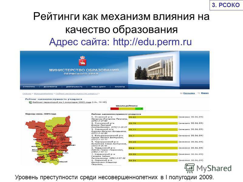 Рейтинги как механизм влияния на качество образования Адрес сайта: http://edu.perm.ru Уровень преступности среди несовершеннолетних в I полугодии 2009. 3. РСОКО
