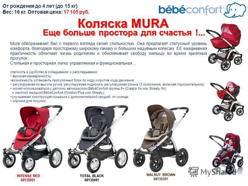 Mura обвораживает Вас с первого взгляда своей стильностью. Она предлагает статусный уровень комфорта, благодаря просторному широкому гамаку и большим надувным колесам. ЕЕ ежедневная практичность облегчает жизнь родителям и обеспечивает свободу малышу