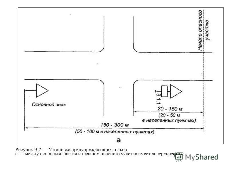 Рисунок В.2 Установка предупреждающих знаков: а между основным знаком и началом опасного участка имеется перекресток;