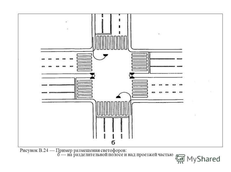 Рисунок В.24 Пример размещения светофоров: б на разделительной полосе и над проезжей частью