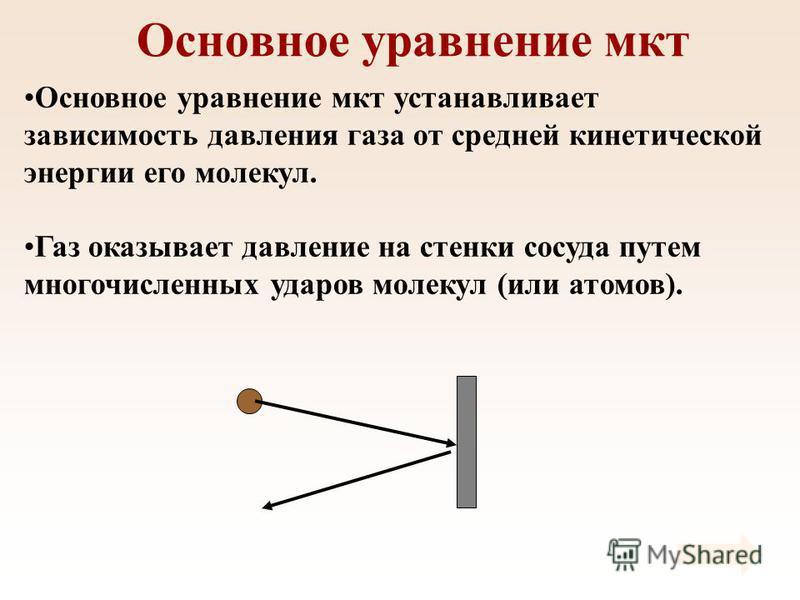 Основное уравнение мкт Основное уравнение мкт устанавливает зависимость давления газа от средней кинетической энергии его молекул. Газ оказывает давление на стенки сосуда путем многочисленных ударов молекул (или атомов).