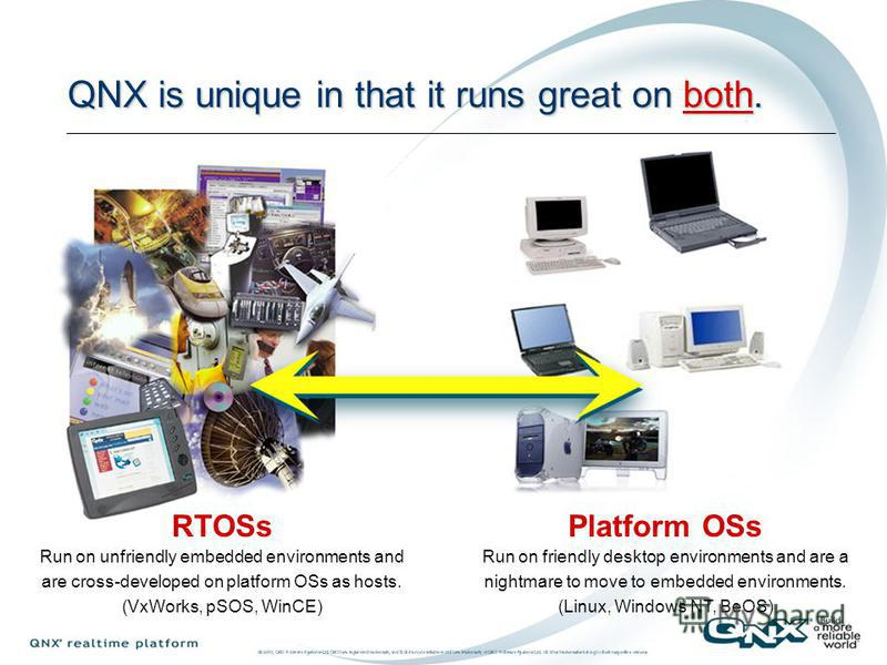 Platform OSs Run on friendly desktop environments and are a nightmare to move to embedded environments. (Linux, Windows NT, BeOS) Operating Systems Live in One of Two Disjoint Worlds RTOSs Run on unfriendly embedded environments and are cross-develop