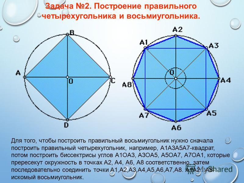 Задача 2. Построение правильного четырехугольника и восьмиугольника. Для того, чтобы построить правильный восьмиугольник нужно сначала построить правильный четырехугольник, например, А1А3А5А7-квадрат, потом построить биссектрисы углов А1OА3, А3OА5, А
