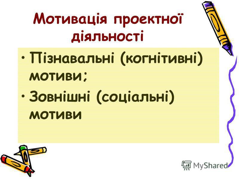 Мотивація проектної діяльності Пізнавальні (когнітивні) мотиви; Зовнішні (соціальні) мотиви