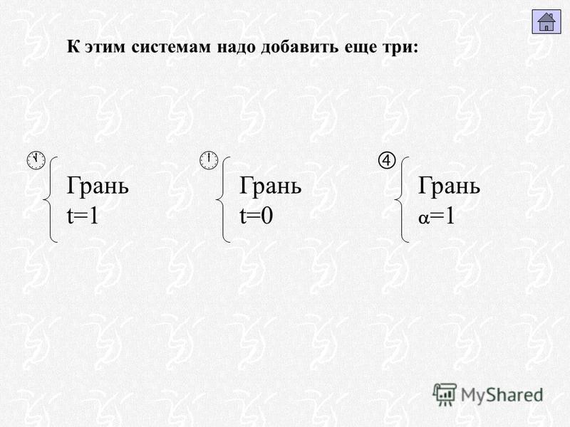 К этим системам надо добавить еще три: Грань t=1 Грань t=0 Грань =1