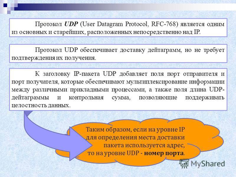 Таким образом, если на уровне IP для определения места доставки пакета используется адрес, то на уровне UDP - номер порта. Протокол UDP (User Datagram Protocol, RFC-768) является одним из основных и старейших, расположенных непосредственно над IP. Пр