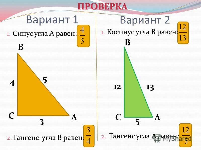 Вариант 1 1. Синус угла А равен: 2. Тангенс угла В равен: 1. Косинус угла В равен: 2. Тангенс угла А равен: Вариант 2 А В С 4 5 3 А В С 1213 5 ПРОВЕРКА ПРОВЕРКА