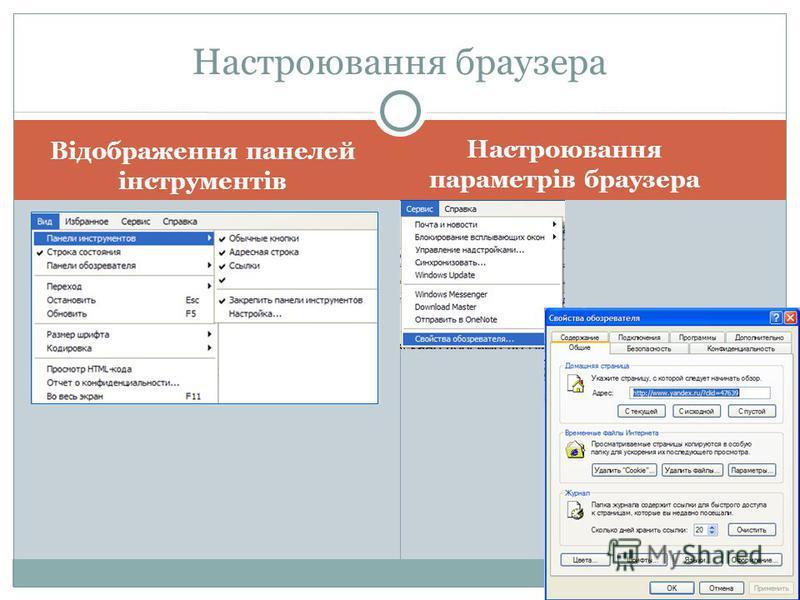 Відображення панелей інструментів Настроювання браузера Настроювання параметрів браузера