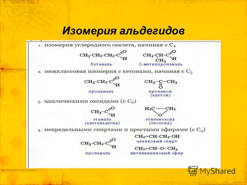 Изомерия альдегидов